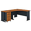 60W Left Hand Bow Front Desk, 36W Desk and 3 Dwr Mobile Ped