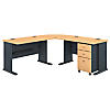 75W x 75D L Desk and 3 Drawer Mobile Pedestal