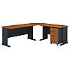 99W x 75D L Desk and 3 Drawer Mobile Pedestal