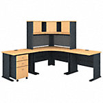 84W x 84D Corner Desk with Hutch and Mobile File Cabinet