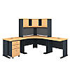 84W x 84D Corner Desk and Hutch with 3 Dwr Mobile Pedestal