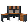 84W x 84D Corner Desk with Hutch and Mobile File Cabinet