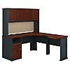 60W x 65D Single Pedestal L Desk and Hutch