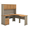 60W x 65D L Shaped Desk with Hutch and 2 Drawer Pedestal