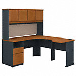 60W x 65D Single Pedestal L Desk and Hutch