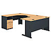 60W x 93D U Shaped Desk with 2 Drawer Pedestal