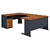 60W x 93D U Shaped Desk with 2 Drawer Pedestal