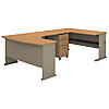 60W Right Handed U Shaped Desk with Mobile File Cabinet