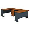 60W Left Handed U Shaped Desk with Mobile File Cabinet
