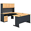 U Shaped Desk with Hutch and 2 Drawer Pedestal