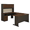 60W Single Pedestal U Station Desk and Hutch