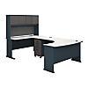 Left Handed U Shaped Desk, Hutch and Mobile File Cabinet