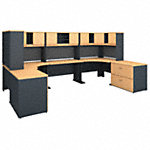 2 Person Workstation with Corner Desks and Storage