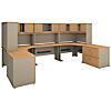 2 Person Workstation with Corner Desks and Storage