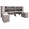 2 Person Corner Desk Stations with Hutches and File Storage