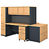 2 Person Workstation with 60W Desks, Hutches and Storage