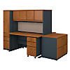2 Person 60W Desk, Hutch, File Storage and Lockers