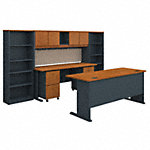 72W Desk with Credenza, Hutch, Bookcases and Storage