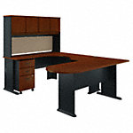 U Shaped Corner Desk with Hutch and Mobile File Cabinet