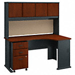 Right Corner Desk with Hutch and Mobile File Cabinet