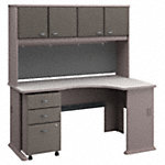 Right Corner Desk with Hutch and Mobile File Cabinet
