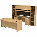 72W x 36D Bow Front Desk w Credenza, Hutch and Bookcases
