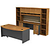 Bow Front Desk with Credenza, Hutch and (2) Bookcases