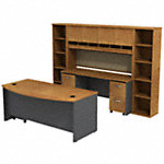 72W x 36D Bow Front Desk w Credenza, Hutch and Bookcases
