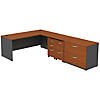 L Shaped Desk with 2 Mobile Pedestals and Lateral File Cabinet