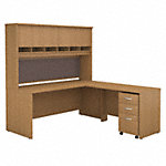 72W L Shaped Desk with Hutch and Mobile File Cabinet