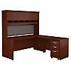 72W x 30D  L-Desk with Hutch and 3Dwr Mobile Pedestal
