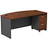 Bow Front Desk with 2 Drawer Mobile Pedestal