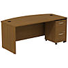 72W x 36D Bowfront Shell Desk with Mobile Pedestal