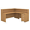 L Shaped Reception Desk with Mobile File Cabinet