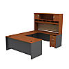 U Shaped Desk with Hutch and 3 Drawer Mobile Pedestal