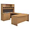 72W Left Handed Bow Front U Shaped Desk with Storage