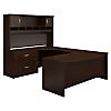 72Wx36D Bowfront Desk LH U-Station with Hutch and Lat File