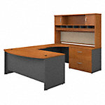 72Wx36D Bowfront Desk RH U-Station with Hutch and Lat File