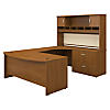 72W x 36D Bowfront Desk RH U-Station with Hutch and Lat File