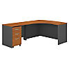 60W x 43D LH L-Desk with 3Dwr Mobile Pedestal