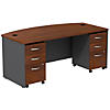 Bow Front Desk with (2) 3 Drawer Mobile Pedestals