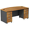 72W x 36D Bowfront Shell Desk with 3Dwr Mobile Pedestals