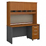 60W x 24D Office Desk with Hutch and Mobile File Cabinet