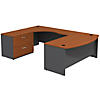 Bow Front Left Handed U Shaped Desk with 2 Drawer Lateral File Cabinet