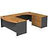 Bow Front Right Handed U Shaped Desk with Lateral File Cabinet