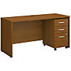 60W x 24D Credenza Shell Desk with 3Dwr Mobile Pedestal