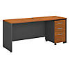 72W x 24D Credenza Shell Desk with 3Dwr Mobile Pedestal