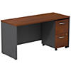Desk Credenza with 2 Drawer Mobile Pedestal
