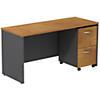 Desk Credenza with 2 Drawer Mobile Pedestal