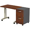 Adjustable Height Mobile Table with 2 Drawer Mobile Pedestal